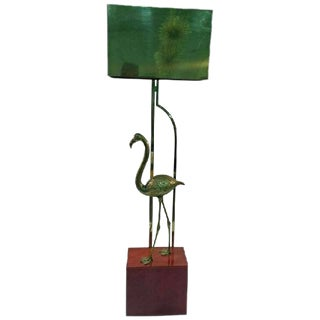 EXCEPTIONAL SIGNED CURTIS JERE BRASS FLAMINGO SCULPTURAL FLOOR LAMP For Sale