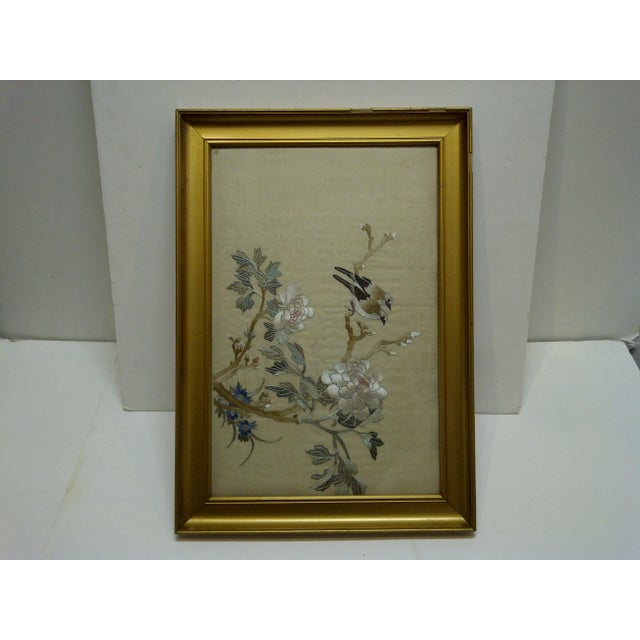 """This is a Vintage -- Framed Embroidery On Silk -- Titled """"Song Birds"""" -- China -- Circa 1940"""