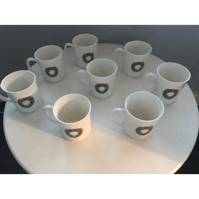 Vintage French Salem Porcelle Christmas Mugs - Set of 8 For Sale - Image 4 of 5