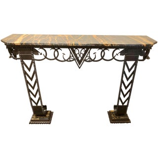 Art Deco Iron and Marble Grand Console Geometric French Style For Sale