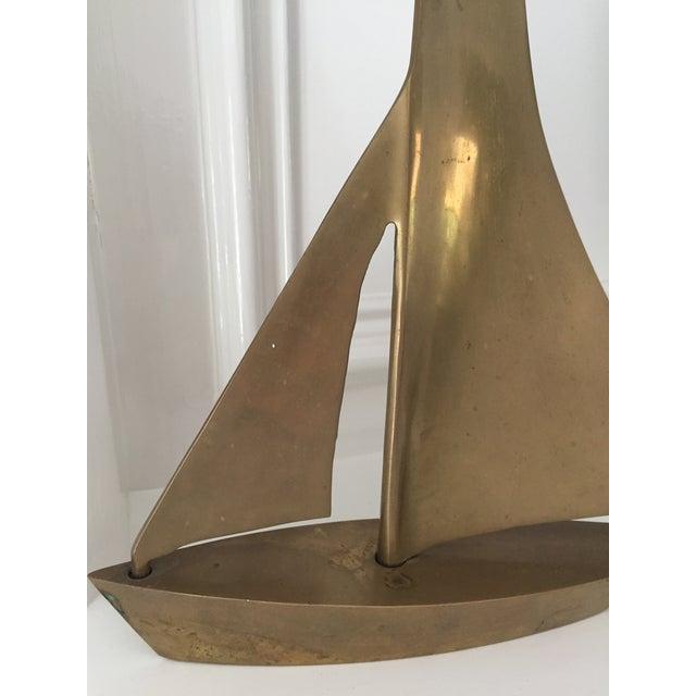MCM Vintage Brass Sailboat - Image 4 of 6