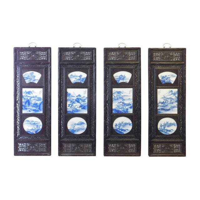 Blue/White Porcelain Wood Framed Wall Art - Set/4 - Image 1 of 9