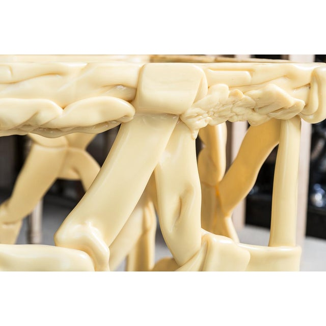 1970s Mid Century Yellow Ribbon Taffy Side Tables, A-Pair For Sale - Image 5 of 11