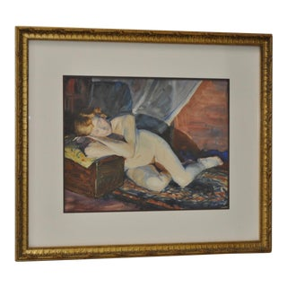 Figural Reclining Nude Watercolor by Roger Hayward C.1930s