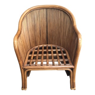 1970's Gabriella Crespi Style Split Reed Bamboo Chair For Sale