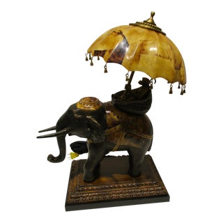 Vintage Maitland Smith Monkey / Elephant Lamp Penshell Shade and Accents For Sale
