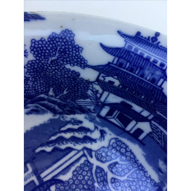 Victoria Ware Ironstone Blue Willow Serving Bowl For Sale - Image 7 of 7