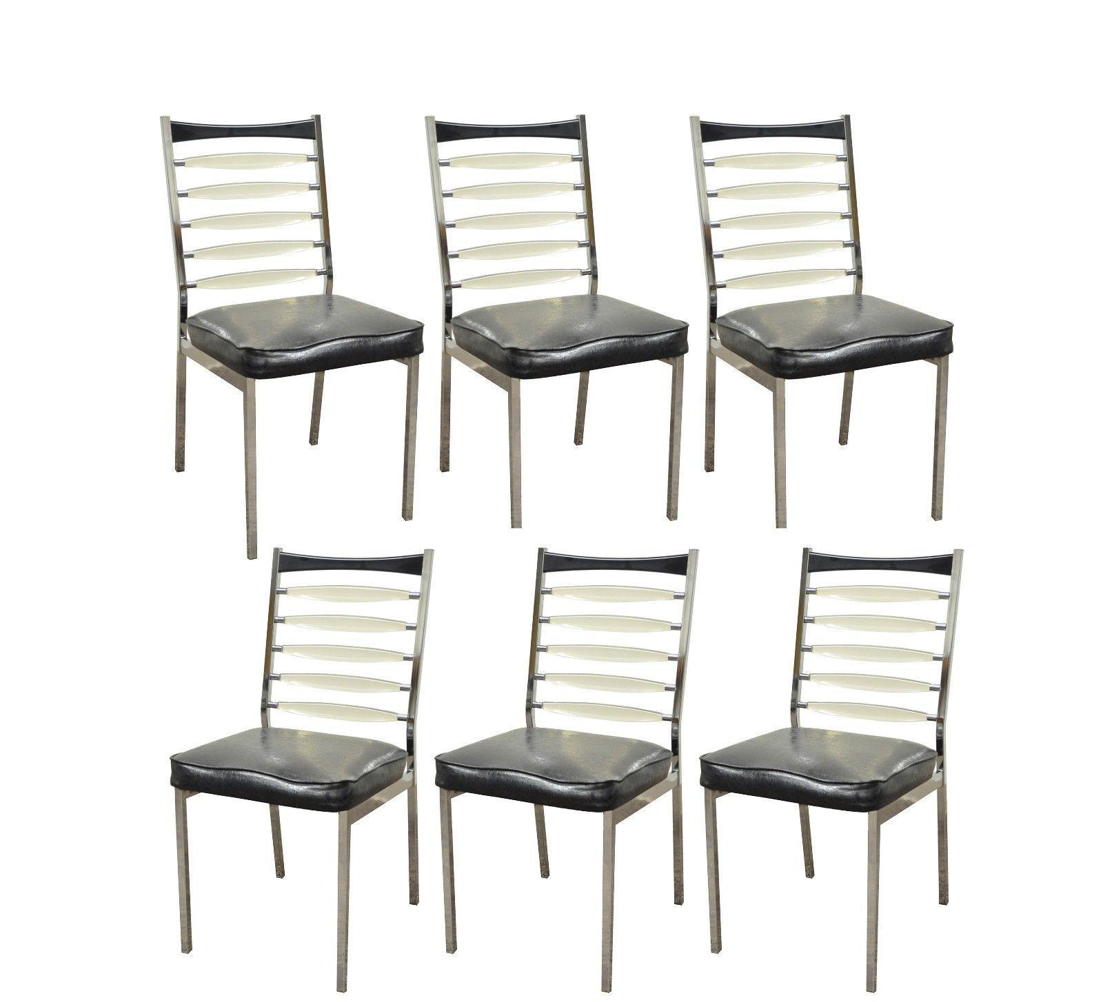 Set 6 Vintage Mid Century Modern Daystrom Chrome Lucite Ladderback Dining  Chairs   Image 11 Of
