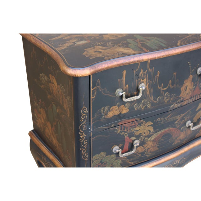 Wood Chinese Oriental Black Gold Lacquer Scenery Graphic Credenza Side Table For Sale - Image 7 of 11