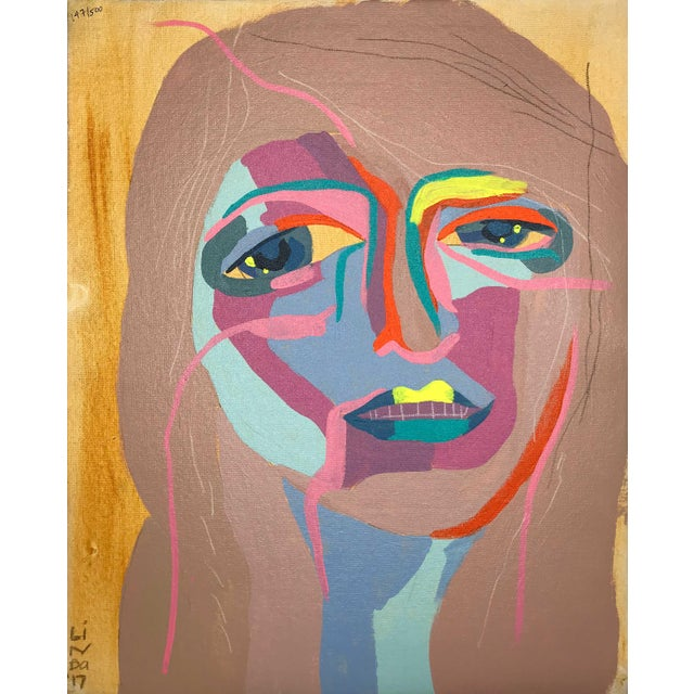 """Contemporary Abstract Portrait Painting """"Let's Go Together, No. 3"""" - Framed For Sale - Image 9 of 9"""