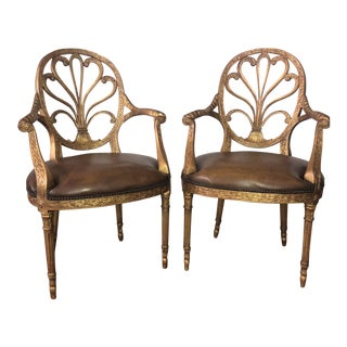 Theodore Alexander Neo-Classical Open Armchairs - a Pair For Sale