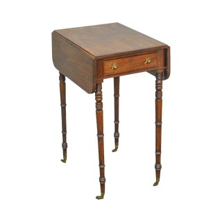 English Regency Antique 19th Century Mahogany Drop Leaf Pembroke Table