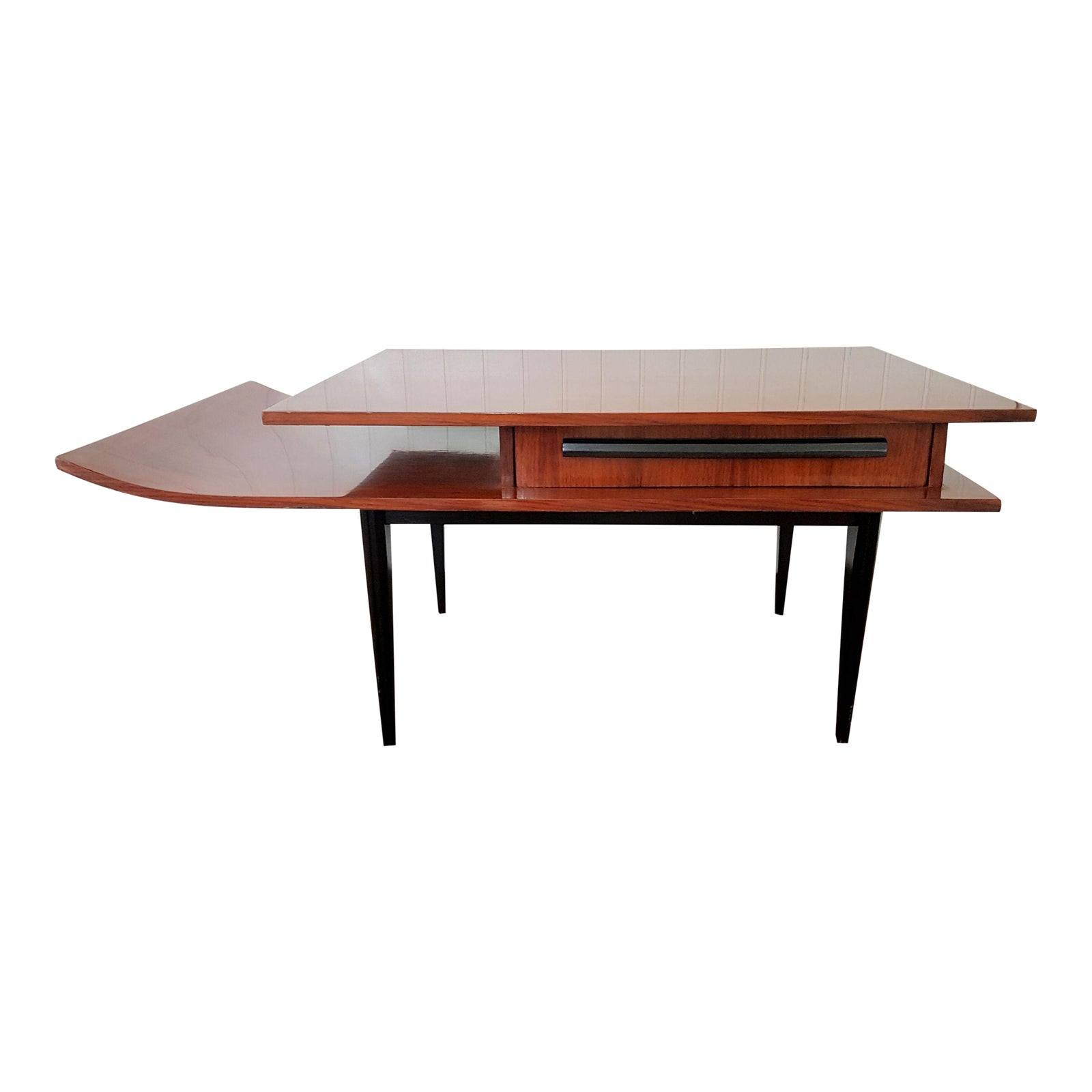 Excellent Rosewood Italian Mid Century Modern Side Table, Pagoda Shape