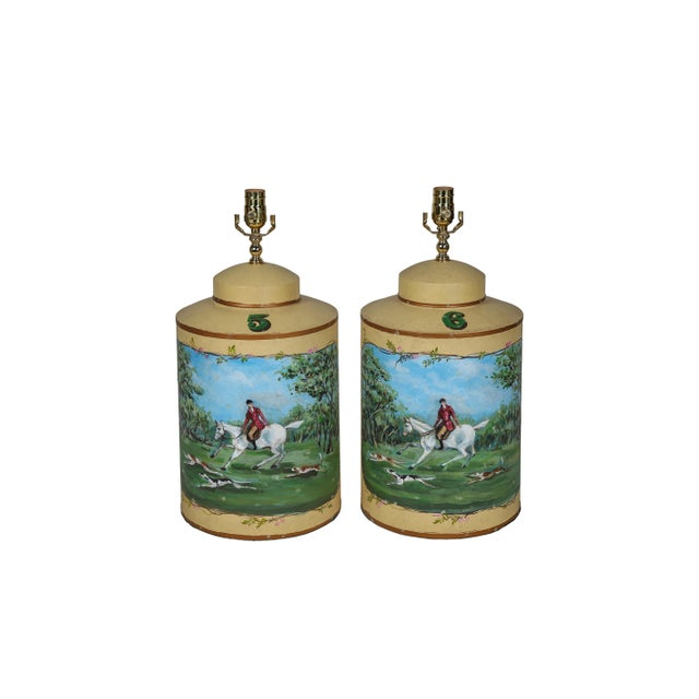 Vintage English Hand-Painted Hunting Scence Tea Caddy Table Lamp For Sale In New York - Image 6 of 7