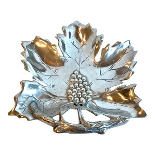 Vintage Silver and Grape Wilton Style Leaf Dish For Sale