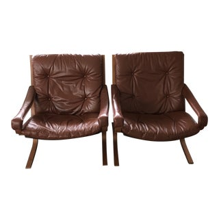 Vintage Mid Century Westnofa Leather Armchairs- A Pair For Sale