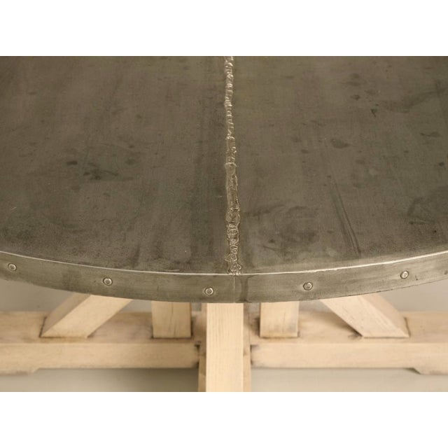 "White Amazing French 55"" Round Zinc Topped Dining Table w/Painted Base For Sale - Image 8 of 10"