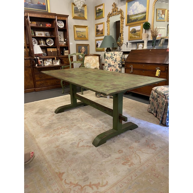 19th Century Antique Farmhouse Distressed Green Dining Table For Sale - Image 5 of 5