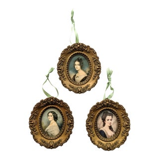 Trio of Vintage Victorian Style Cameo's Women Portraits With Gold Frames - Lot of 3 For Sale