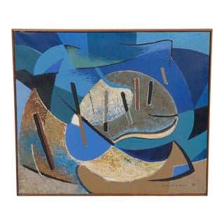 1954 Blue Abstract Landscape by Schlechter For Sale