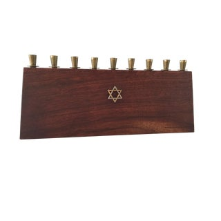 1960s Vintage Solid Wood and Brass Jewish Menorah For Sale