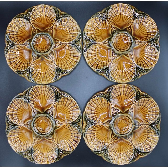 1930s French Sarreguemines Scallop Shell Oyster Plates - Set of 4 For Sale In Tulsa - Image 6 of 7
