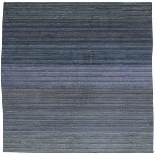 Contemporary Modern Flat-Weave Rug, Ombre Kilim With Pastel Postmodern Style, 7 X 7 For Sale