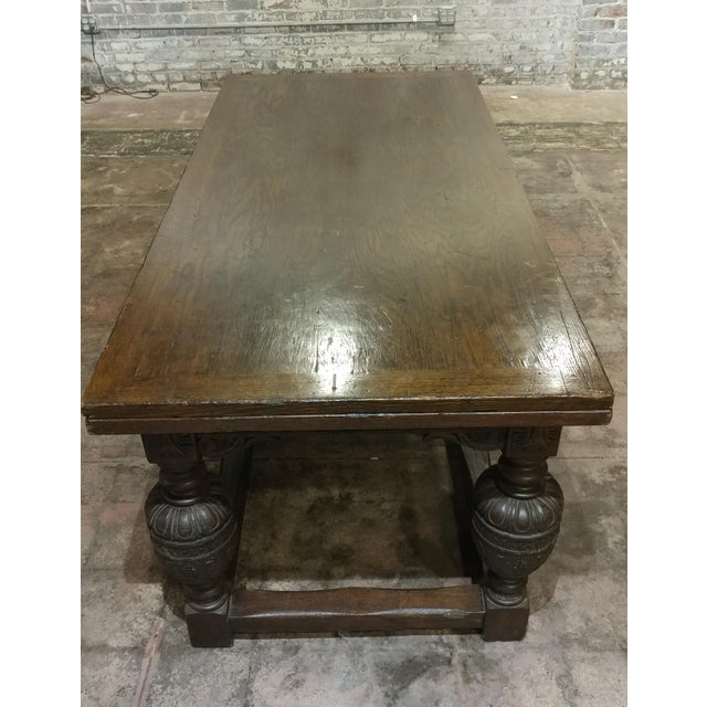 18th Century English Oak Jacobean Style Draw Leaf Refectory Table Size For Sale - Image 4 of 10