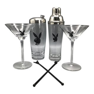 2 Playboy Club Martini Shakers With 2 Martini Glasses and Two Swizzle Sticks - Group of 6 For Sale