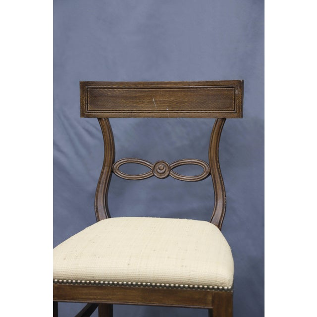1980s Vintage Raffia Covered Seat Counter Stool For Sale - Image 4 of 6