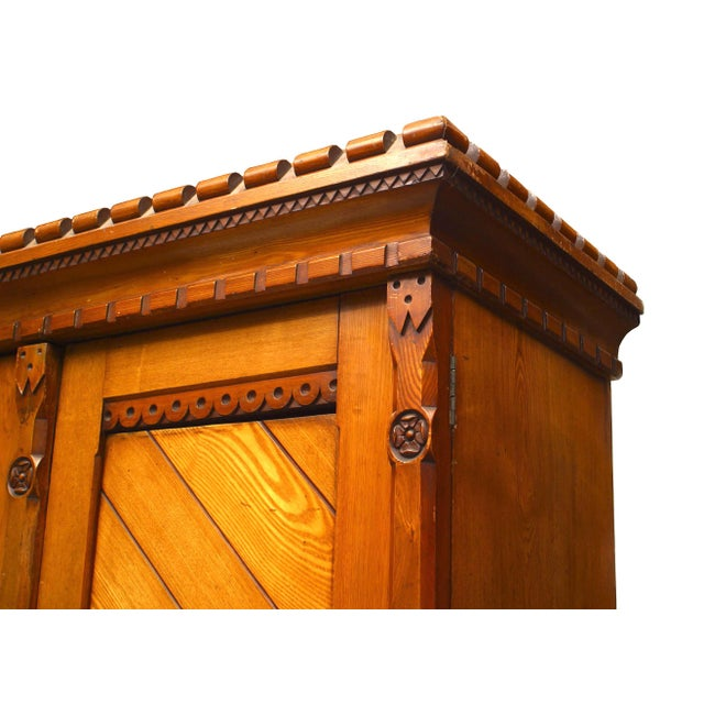 English Arts & Crafts Pine Armoire Cabinet For Sale - Image 4 of 6
