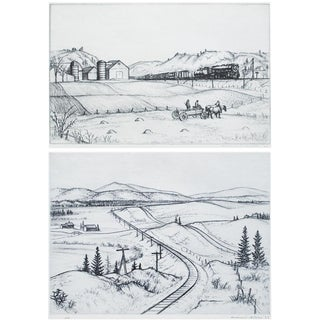 1939 Photogravures After Andrew Butler Drawings - a Pair For Sale