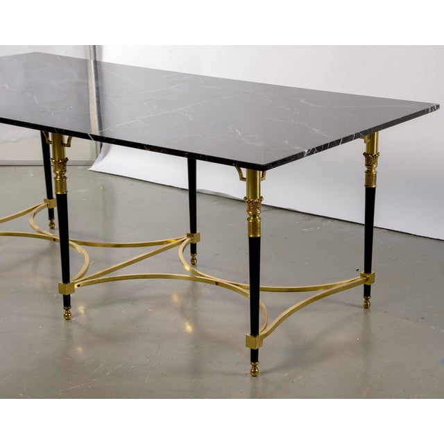 Italian Directoire Style Table With Black Marble Top and Brass Base For Sale - Image 4 of 13