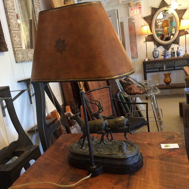 Adirondack Style Maitland Smith Bronze Lamp - Image 8 of 9
