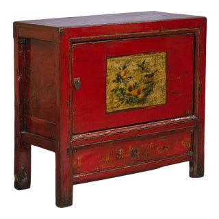 Antique Red Painted Chinese Cabinet - Small For Sale