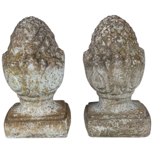 Pair of English Cast Stone Finials, Circa 1920 For Sale - Image 11 of 11