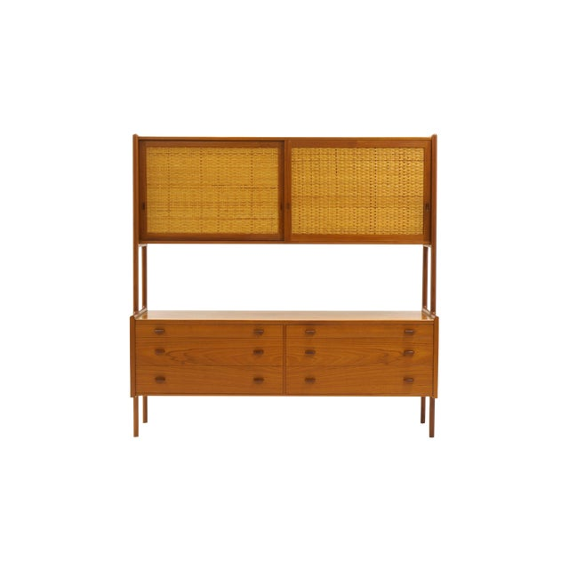 Hans Wegner Wall Unit, Room Divider or Sideboard, Rare Teak and Cane Version For Sale