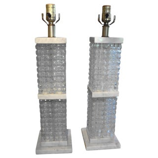 Italian Mid Century Modern Glass and Marble Lamps - a Pair For Sale