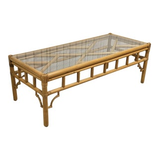1970s Chinoserie Clark Casual Furniture Kentucky Rattan Rectangular Coffee Table For Sale