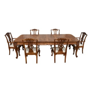1990s French Hekman Burled Ash Louis XV Dining Set - 7 Pieces For Sale
