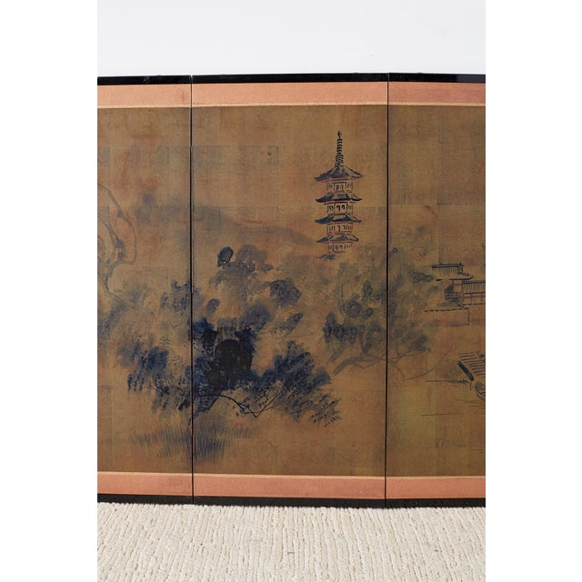 Japanese Four-Panel Screen of Pagoda Bridge Landscape For Sale - Image 4 of 13