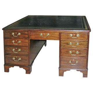 1820s English Mahogany Partner's Desk With Greek Key Leather Top For Sale