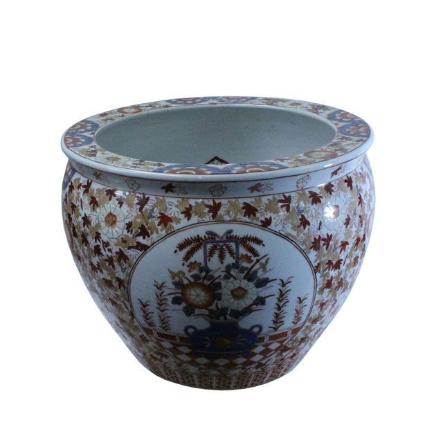 Chinese Oriental Vintage Porcelain Orange Imari Graphic Pot For Sale - Image 4 of 9