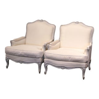 Pair of French Louis XV Carved Painted Armchairs With White Muslin For Sale