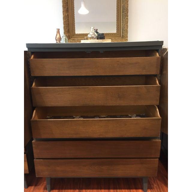 Mid-Century Modern Tall Ebony 2-Toned Dresser - Image 4 of 6