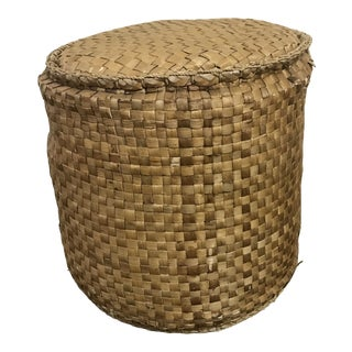 1970s Vintage Woven Rattan Foot Stool For Sale