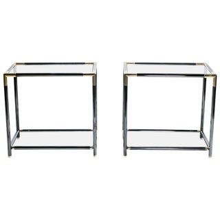 French Gunmetal and Brass End Tables, 1970s - A Pair For Sale