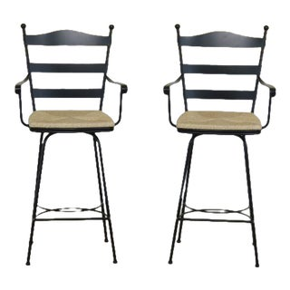Traditional Charleston Forge Black Iron Bar Stool High Chairs - a Pair