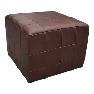 Late 20th Century Danish Patchwork Brown Leather Cube Ottoman For Sale