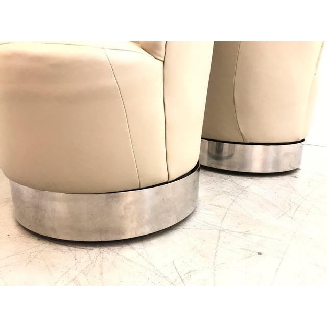 Tan 1980s Vintage J. Robert Scott Leather and Chrome Barrel Chairs- A Pair For Sale - Image 8 of 12